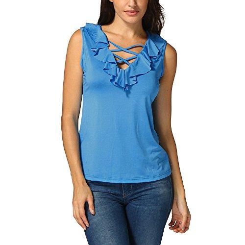 (WEISUN Women Silk Tops Summer Vest Top Short Sleeve Blouse Casual Tank Tops T-Shirt Lightweight Camisole Blue)