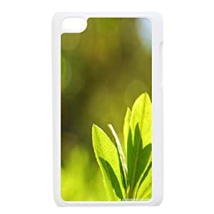 Ipod Touch 4 Cases Green Leaves Bokeh for Boys, Case for Ipod Touch 4g Tyquin, {White}