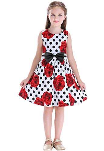 Bow Dream Little Girls Dress Country Flower Casual Dress for Girls Dots Red Rose ()