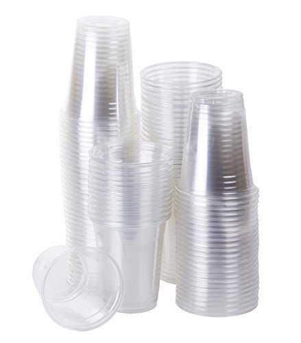 TashiBox Clear Plastic Cold Drink Cups, 100 Count. (12 oz)