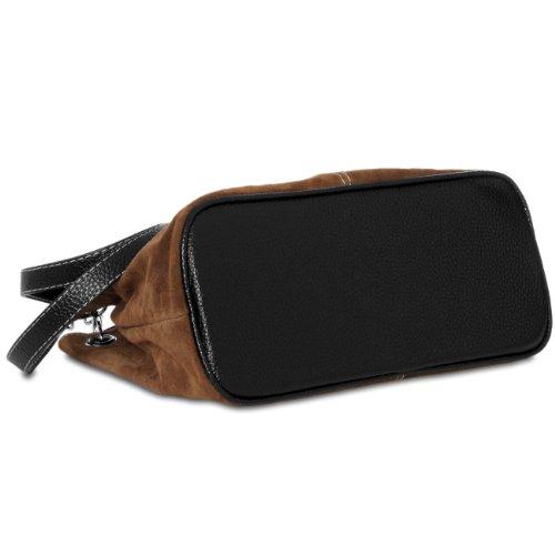 Mano Italiano CASPAR Bolso de TL621 Genuino de Mujer Cuero marrón para RRwTq6x