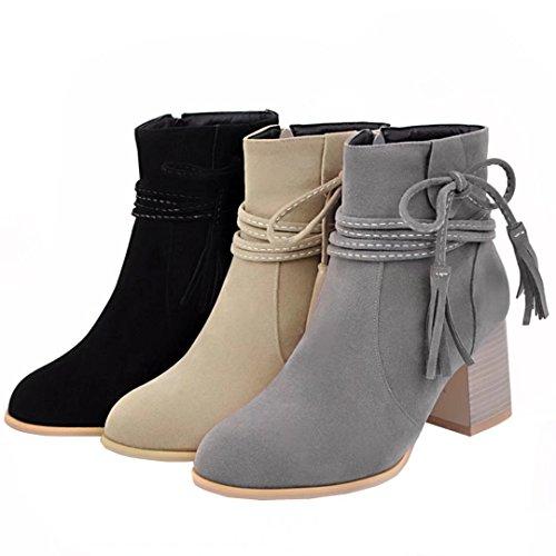 AIYOUMEI Damen Blockabsatz Stiefeleten mit Schnürung und Fransen 7cm Absatz Winter Stiefel Beige