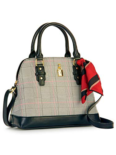 - Women Harper Black Plaid Top Handle Satchel Purse Handbag with Scarf