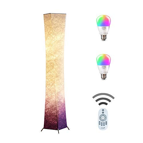 (CHIPHY Floor Lamp, Standing Lamp, Color Changing and Dimmable Smart RGB LED Bulbs with Remote Control and Purple White Fabric Shade, Modern Light for Living Room, Bedroom and Office(7.9