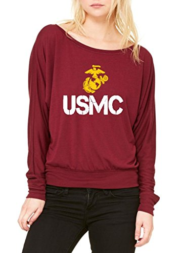 Xekia USMC US Marine Corps People Fashion Clothing Best Friend Xmas Mothers Day Gifts Women's Flowy Long Sleeve Off Shoulder Tee Clothes Small Maroon