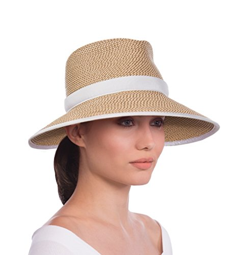 Eric Javits Luxury Fashion Designer Women's Headwear Hat - Sun Crest - Peanut/White by Eric Javits