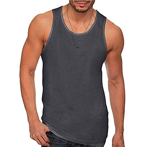 Permen Undershirt for Men, Casual Vintage Sleeveless Sports Singlet Tank Tops Vest Dark Grey