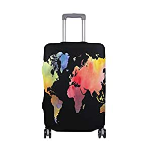 Mydaily Watercolor World Map Luggage Cover Fits 18-21 Inch Suitcase Spandex Travel Protector S