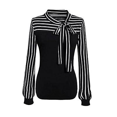 TOTOD Fashion Women Criss Cross Front V-Neck Patchwork Short Loose Stripe Sleeve T-Shirt Blouse Top