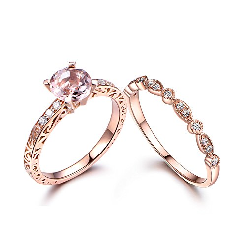 MYRAYGEM-engagement ring 7mm Round Pink Morganite Filigree Floral Deco Ring Set,Half Eternity Diamond Matching Band 14k Rose Gold ()