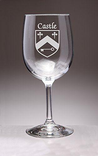 Castle Irish Coat of Arms Wine Glasses - Set of 4 (Sand Etched)