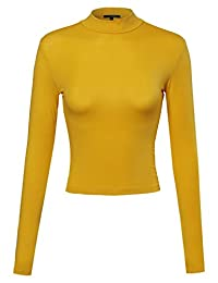 Awesome21 Women's Silky Mock Turtle neck Long sleeve Knit Top Sweater