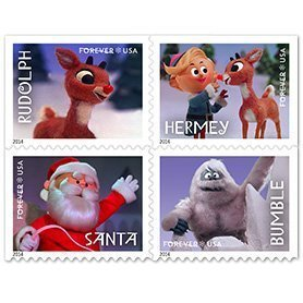 (Rudolph the Red-Nosed Reindeer USPS Forever Stamps, Book of 20)