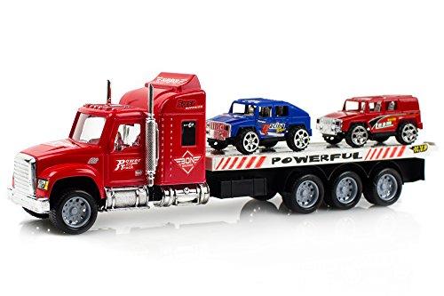Car Transporter Truck - Hauler Trucks For Children Friction Toy Transporter Truck Ready To Run - Extreme Hammer Toy Car Transporter Semi Trailer Friction Toy Truck Ready To Run W/ 2 Extra Hammer Toy C