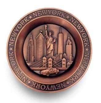 (Vintage Metal New York City Replica Round Plate with Statue of Liberty, Empire State Bldg. Freedom Tower, Chrysler Bldg. Brooklyn Bridge & Famous New York Taxi - NYC Souvenirs)