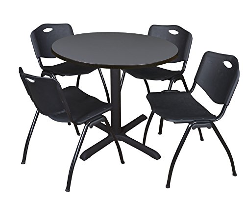 Cain 42'' Round Breakroom Table- Grey & 4 'M' Stack Chairs- Black by Regency Seating