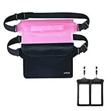 Waterproof Pouches - Dry Bags With Waist Strap For Beach Swimming Boating Kayaking Fishing Hiking - Bundled With Phone Case