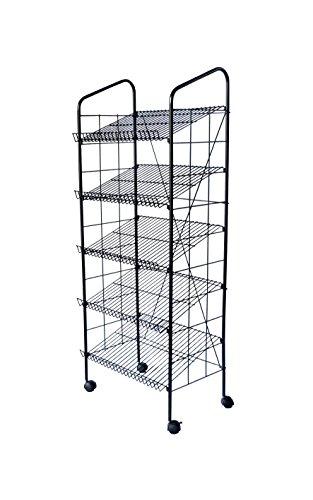 FixtureDisplays 24.3'' x 49.1'' x 14.7'' Bakery Display Rack w/ Wheels, 4 Wire Gravity Shelves, Mild Steel - Black 19406 by FixtureDisplays
