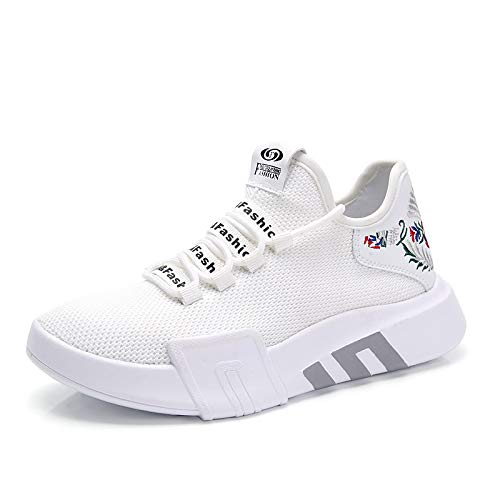 Round Zapatos Sintético Fall de Blanco Malla Sneakers Creepers Mujer amp; Negro ZHZNVX Spring Comfort White Toe SqUdwnP