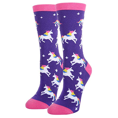 Women's Novelty Crazy Crew Socks Funny Colorful Magical Unicorn Socks in -
