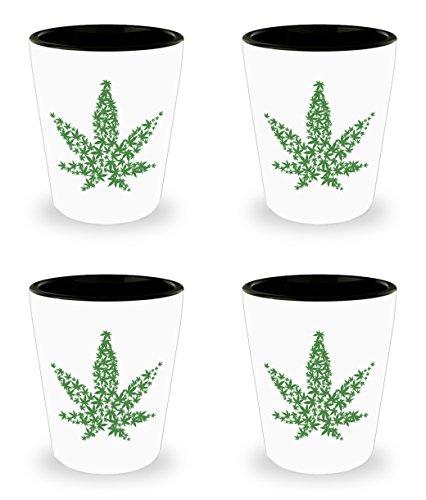 Weed Lover Gift, Marijuana Leaf Shot Glass Set, Bud Smoker Pot Head 420 Novelty Gifts, Cannabis Stoner Stuff, 4 -