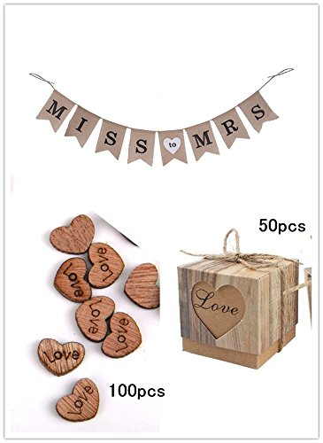 CTY Wedding Pack of 3, Miss to MRS Burlap Banner, Rustic Kraft Boxes and Wooden Love Heart for Party Decoration]()