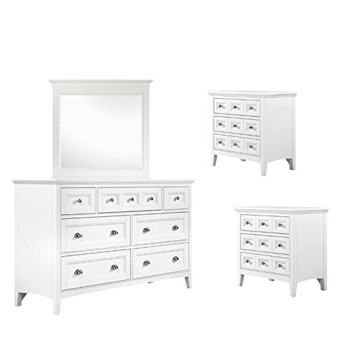 Home Square 4 Piece Bedroom Set with Mirror, Dresser, and Se