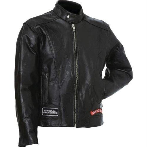 (Diamond Plate™ Leather Motorcycle JACKET-S)