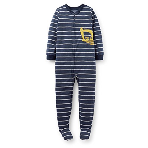 Carter's Little Boys Fleece Striped Footed Pajamas Digger (5 Youth)