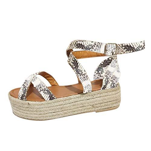 YKARITIANNA Womens Fashion Snakesk Wedge Pumps Straw Thick Bottom Shoes Ladies Roman Sandals 2019 Summer Beige