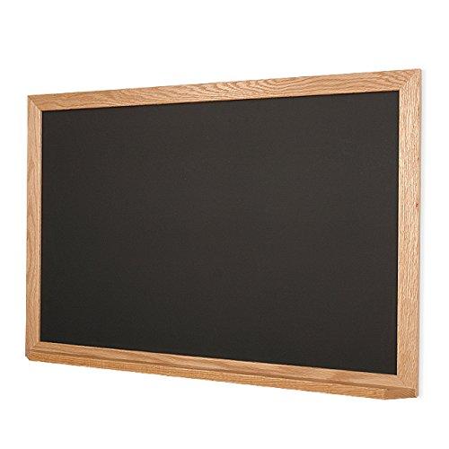 Natural Oak Framed 2'h X 3'w Black Ceramic Steel Chalkboard with Chalk Tray by New York Blackboard
