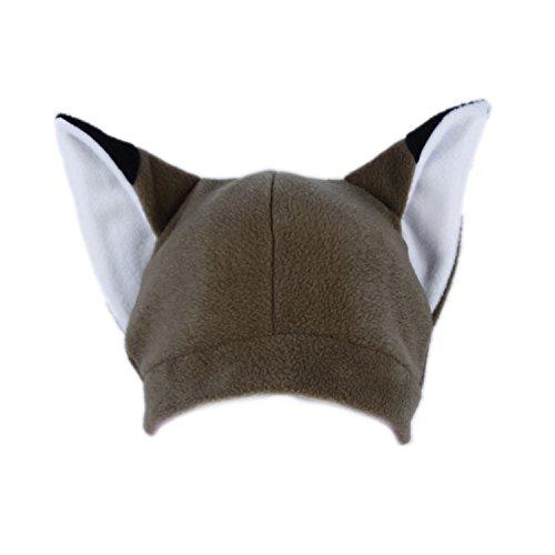 Fleece Anime Cosplay Cap - Pawstar Fleece Fox Ears Beanie Hat - Brown