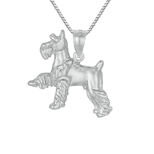 Sterling Silver MINIATURE SCHNAUZER DOG 3D Solid Pendant, Made in USA, 18