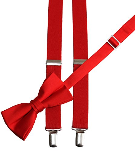 Matching Red Adjustable Suspender and Bow Tie Sets, Kids to Adults Sizing (50'' Adults Ages 16-Up) by Tuxgear