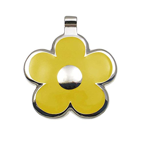 LuckyPet Pet ID Tag - Flower Jewelry Tag - Dog Tag & Cat Tag - Easy to Read Engraving on Back Side - Size: Large, Color: Yellow