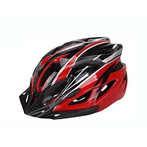 Casque de vélo ultra léger respirant pour vélo de sécurité - Casque de vélo pour adultes avec visière détachable et doublure en taille moyenne (54-67cm), rouge