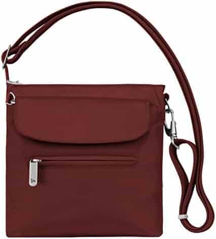 Travelon Women's Anti-theft Classic Mini Shoulder Bag Sling Tote, Wine