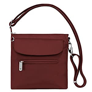 Travelon Women's Anti-Theft Classic Mini Shoulder Bag Sling Tote, Wine, One Size