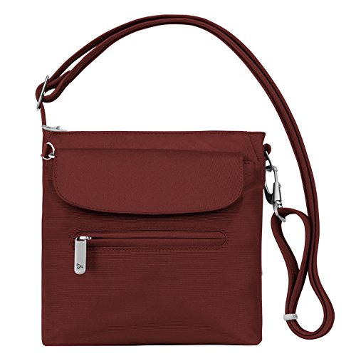 Travelon Women's Anti-theft Classic Mini Shoulder Bag Sling Tote, Wine by Travelon