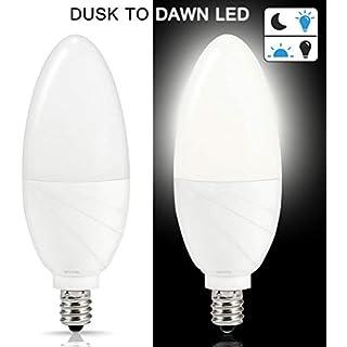 Sensor Light Bulbs 60W Equivalent Dusk to Dawn LED Light Bulb, Techgomade 6W Bulb Daylight 5000K, E12 Candle Base Auto On/Off 500LM Smart Sensor LED Bulb, Outdoor Lighting Lamp for Porch, Yard, 2 Pack