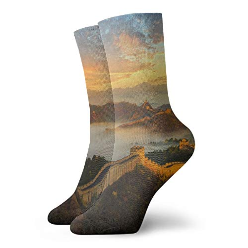 Unisex Tube Socks Crew Great Wall Of China Over Calf Comfort Stockings For Sport Travel (Great Wall Of China Length And Width)