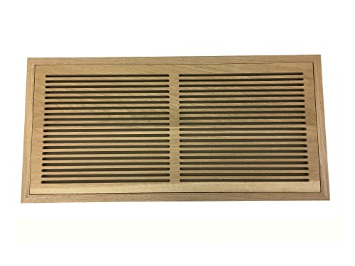 10 Inch x 24 Inch White Oak Hardwood Vent Floor Register Flush Mount with Frame, Slotted Style, Unfinished