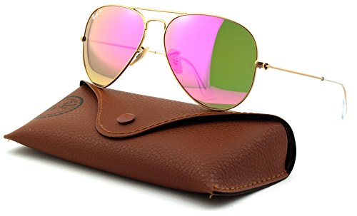 Ray-Ban RB3025 Aviator Large Metal Unisex Polarized Aviator Sunglasses (Matte Gold Frame/Brown Mirror Pink Polarized Lens 112/1Q, - Ban Aviator Mirror Ray Polarized