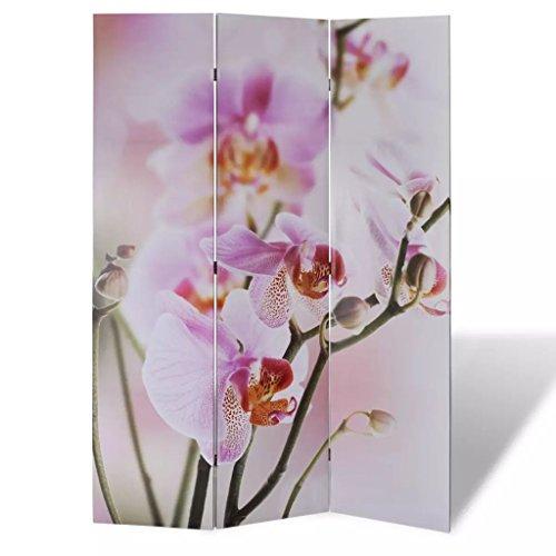 vidaXL Room Divider Flower Print 3-panel Wooden Home Room Privacy Fold Screens