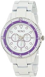 XOXO Women's XO5489 White Analog Bracelet with Purple Bezel Watch