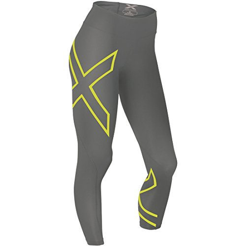 2XU Women's Mid-Rise Compression Tight 2015 (Slate/Lime Light, X-Small)