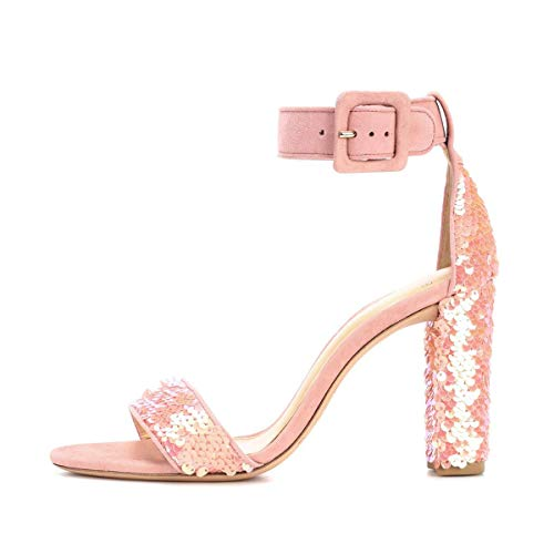 Onlymaker Women's Ankle Strap Sequins Block Chunky High Heel Sandals Open Toe Mermaid Scales Paillette Heels Shoes Pink 9 M US