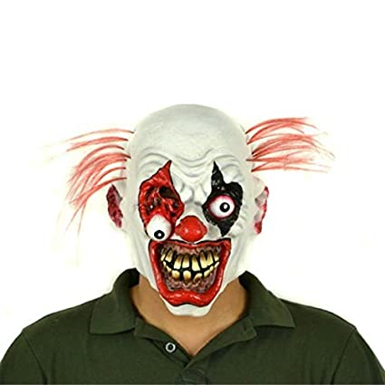 Hyaline & Dora Halloween máscara de payaso de látex con pelo para adultos, disfraz de