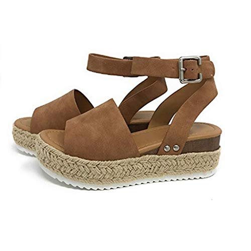 - ♡QueenBB♡ Women's Flatform Espadrilles Ankle Strap Buckle Open Toe Faux Leather Studded Wedge Summer Sandals Brown