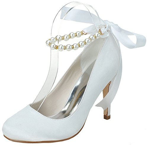 LOSLANDIFEN Womens Round Toe Satin Pumps Pearls Ankle Strap Ribbon Bow High Heel Wedding Bridal Shoes White